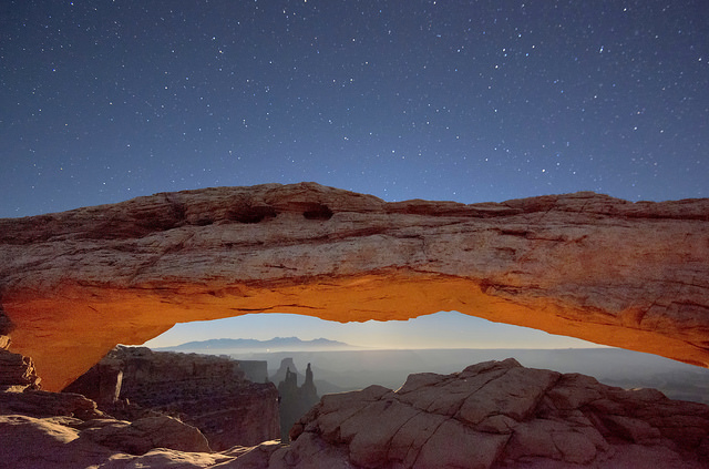 Moonrise at Mesa Arch (via flickr.com/John Fowler)